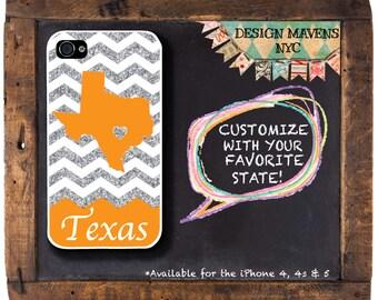Texas iPhone Case, Glitter iPhone Case, Orange iPhone Case, Not Real Glitter, iPhone 4, 4s, iPhone 5, 5s, 5c, iPhone 6, 6s, 6 Plus, SE