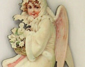 Victorian Christmas Ornament, Beautiful Angel Carrying a Basket of Flowers