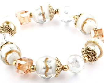 White Murano Glass Beaded Stretch Fashion Bracelet with Gold Bead caps