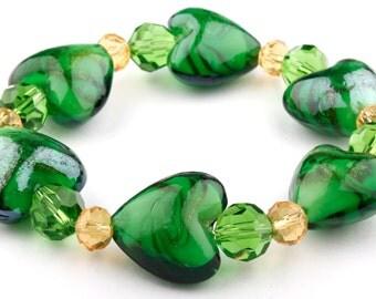 Emerald Green Heart Murano Glass Stretch Beaded Fashion Bracelet