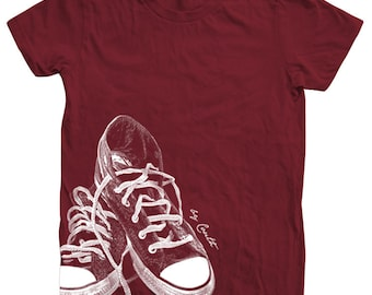 Womens Sneakers Tshirt Custom Hand Screen Print American Apparel Crew Neck Available: S, M, L, Xl
