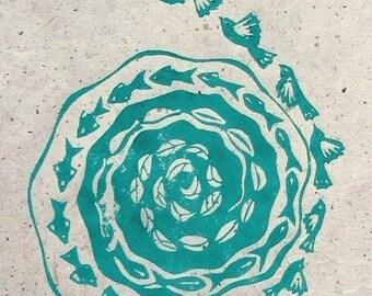 Sea Changes Lino cut print