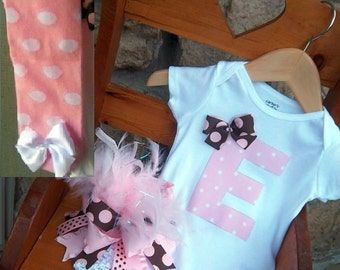 Baby Girl Personalized Outfit, Birthday Outfit, Pink and Brown Baby Girl Set, Over the Top Bow, Leg Warmers, and Onesie or Shirt