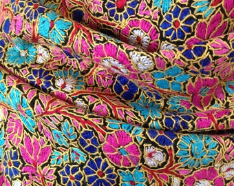 KASHMIR EMBROIDERED SHAWL, hand-embroidered, million flower, wedding, formal, pashmina