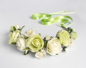 Floral Tiara / Lime Green Ivory Hair Wreath / Head Piece / Mini Floral Crown / Headband / Handmade Accessory for Women