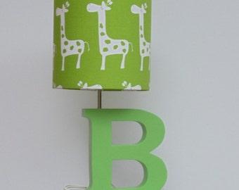 small giraffe drum lamp shade green chartreuse with white giraffes design nursery or baby - Giraffe Lamp