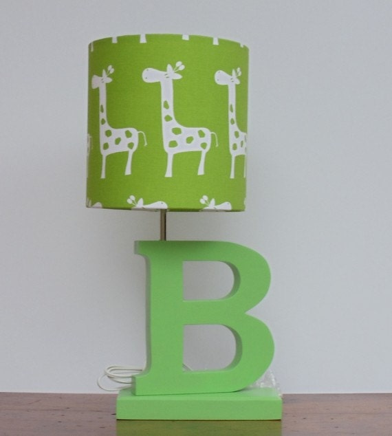 Elephant nursery lamp - Small Giraffe Drum Lamp Shade Green Chartreuse With White