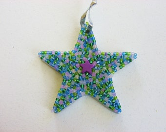 Star Ornament with Sparkly Beads in Purple, Blue and green Great Gift