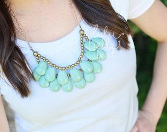 Mint Briolette Necklace - Teardrop Bib Statement Necklace - Anthropologie Inspired - Handmade