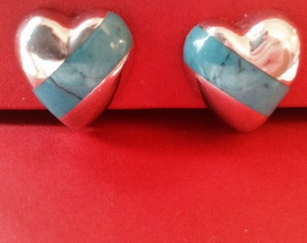 Vintage Sterling Silver with Turquoise Heart Puffed Earrings