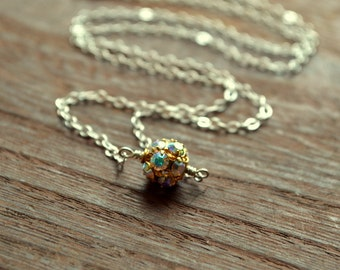 Aurora Borealis Swarovski Crystal Small Ball Necklace in Silver