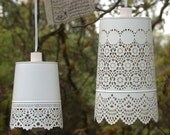 ON SALE--Shabby chic style white lace hanging lamp - Beach cottage, girls room, light fixture, outdoor light, french country, hanging lamp
