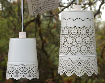 Hanging Lamp, Shabby chic style white lace lamp - Beach cottage, girls room, light fixture, outdoor light, french country, hanging lamp