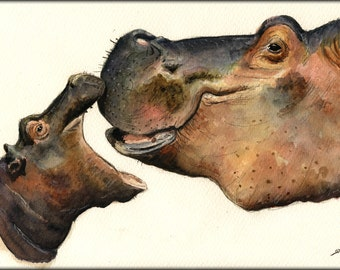 PRINT-Hippo mom and baby african trophy  - Art Print by Juan Bosco