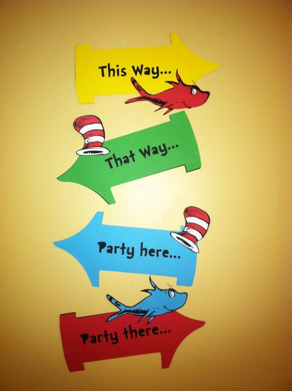 Dr Seuss Inspired Party Signs Thing 1 And Thing 2 Party