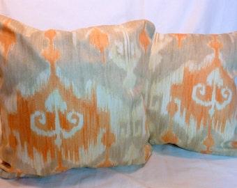 Richloom Ikat Pillow Cover -  Richloom Marlene Ikat pillow -  18x18 or 20x20 -  Designer Fabric -  Orange - Pillows - Designer pillow covers