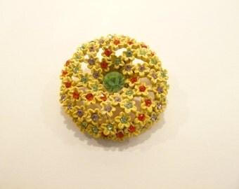 Beautiful Vintage Signed ART Yellow Enamel & Rhinestone Bracelet