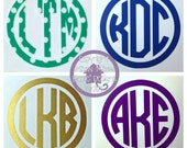 2 inch Circle Border Monogrammed Decal for Cell Phone Case or Cover - Custom Monogram Initial Sticker Fits Iphone, Android