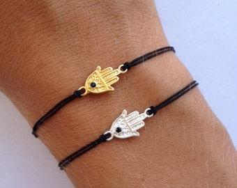 Fatima Hand charm (sterling silver) on Black Bracelet