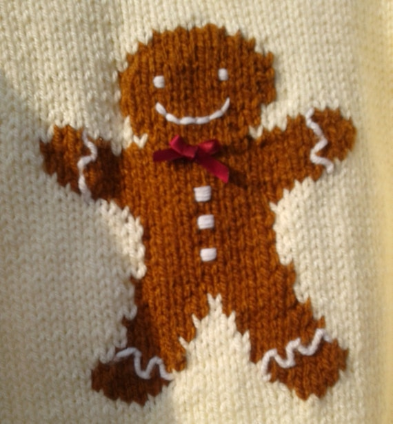 Gingerbread Man Jumper Knitting Pattern : Gingerbread Man Jumper, chunky knitting pattern from BernieBeeKnits on Etsy S...