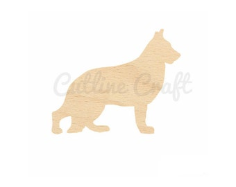 German Shepherd Dog Cutout Style 864 Shapes Crafts, Gift Tags Ornaments Laser Cut Birch Wood Various Sizes