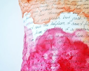 Personalized Handwritten Poetry Pillow, Custom Text, Handpainted in Custom Colors