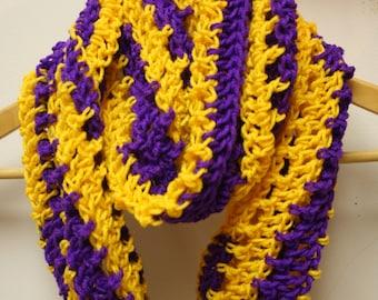 36. Crochet Minnesota Vikings or Los Angeles Lakers Colors Sports Infinity Scarf