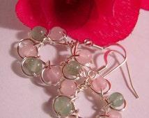 Heart Soothing Earrings, Rose Quartz, Gr Aventurine, Heart Healing, Wire Wrapped Universal Love Stone, Prosperity  Abundance, FREE SHIPPING