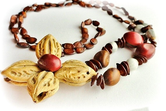 Vintage natural seed beads necklace costume jewelry for Natural seeds for jewelry making