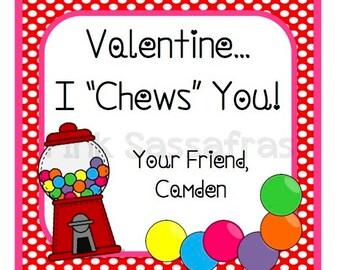 I Chews You Valentine Favor Tags