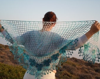 free worldwide shipping, ready to ship, handmade mohair triangle crochet shawl,cowl,neckwarmer with turquoise tones flowers