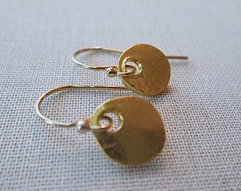 Gold Earrings / Organic Gold Coins / Simple Gold Round / Rustic Artisan Gold / Circle Gold Earrings / Gold Disc Earrings