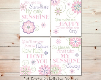 Baby Girl Nursery Decor You are My Sunshine Pink Purple Nursery Art Girls Room Wall Art Prints Floral Quad Print Set Modern Nursery Decor