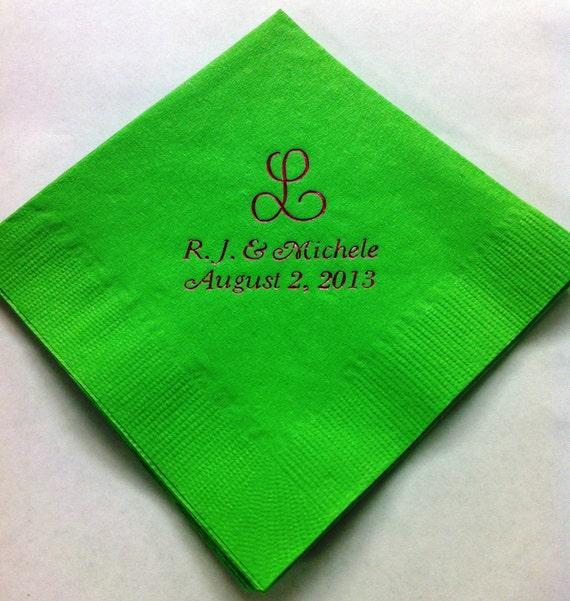 100 personalized beverage napkins wedding favors wedding