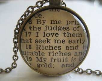 I Love Them That Love Me Scripture Necklace Bible Verse Proverbs 8:17-19 From an Antique Bible OOAK