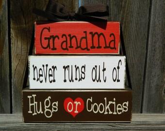 Grandma/Mother's day wood blocks--Grandma never runs out of hugs or cookies