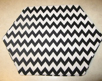 Black and White Chevron Placemats Set of 4 Reversible Zig Zag Black and White Placemats