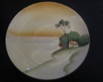 "REDUCED 50%Vintage Asian Porcelain Hand Painted Decorated Plate with rear hanging for wall 4.5"" diameter. Mint"