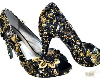 Swarovski crystal Cinderella Black Gold Peeptoe platform bridal wedding heel vintage Lace shoe