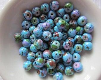 25  Robin's Egg Blue Green & Pink Splattered Black Veined Round Glass Beads  6mm