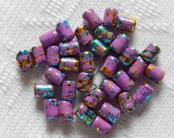 28  Dark Lilac Gold & Turquoise Foil Tube Glass Beads  7mm x 4mm