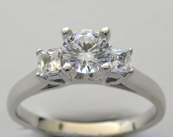Diamond Engagement Ring 14K White Gold Three Stone Made In The USA