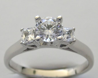 14K White Gold Three Stone Diamond Engagement Ring Made In The USA