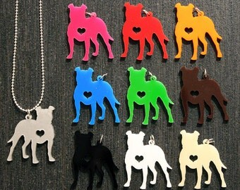Floppy Ear Pit Bull Silhouette w/ Heart Necklace 10% Proceeds to Pit Bull Organization