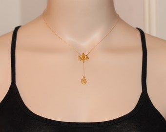Gold rosary necklace - sacred heart necklace - virgin mary - religious - rosary - real housewives - 22k gold on a 14k gold filled chain