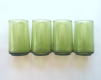 Juice Glasses Green Set of 4 Mid Century