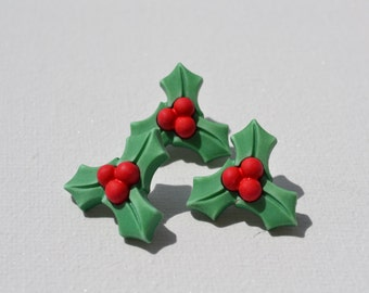 3 x Christmas Holly buttons
