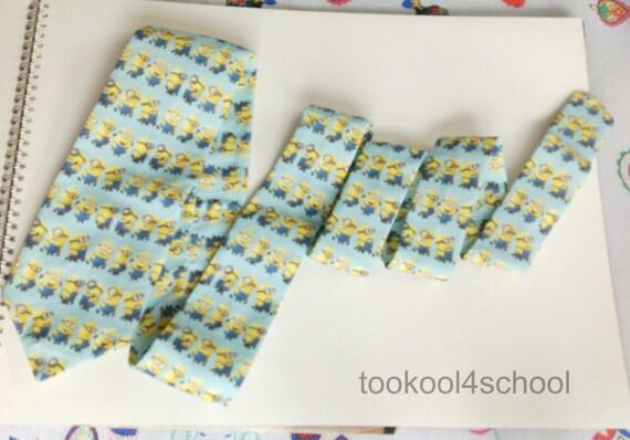 mens neck tie mini minion dispicable me fabric in aqua