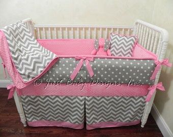 Custom Baby Bedding Set Paige - Girl Crib Bedding, Gray Chevron and Polka Dots with Medium Pink