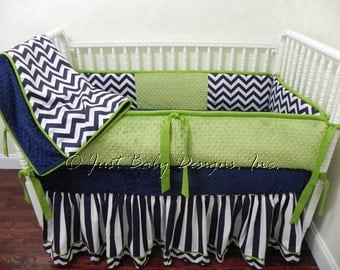 Spectacular Custom Baby Bedding Set Kerry Navy Chevron and Stripes with Lime Green Girl